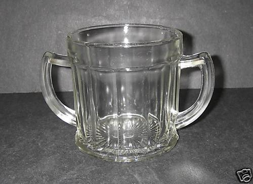 Hazel Atlas Glass Pressed Clear Sugar 2-handled ribbed panels 1930s Depression.