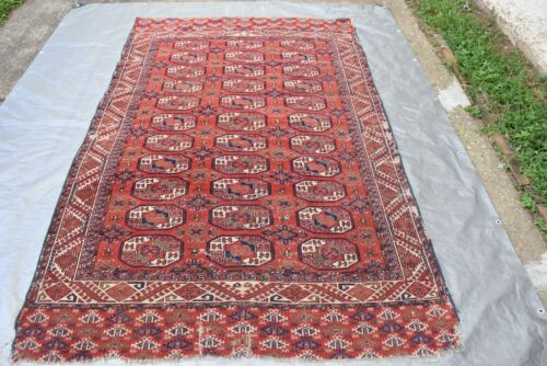 ANTIQUE TURKOMAN RUG Beautiful Colors As Is Damaged 5x8  #132