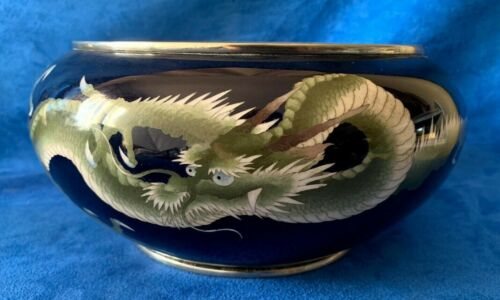 Vintage Oriental Japanese Enamel Silver Bowl with Dragon