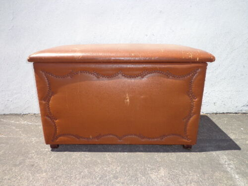 Trunk Vintage Storage Rustic Steamer Coffee Table Hope Chest Blanket Leather