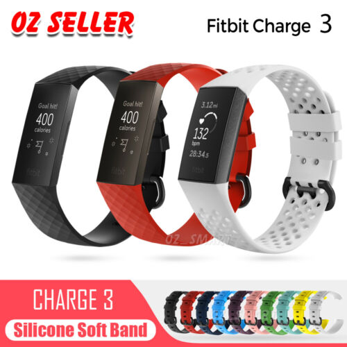 Fitbit Charge 3 Watch Band Strap Replacement Wristband Soft Silicone Bracelet