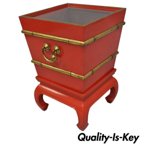 Chinoiserie Red Lacquer Oriental Pedestal Planter Accent Table Brass Faux Bamboo