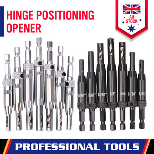 """7-Piece Centre Drill Bits Set Self Centering Hinge Hole Drilling 1/4"""" Hex Shank"""