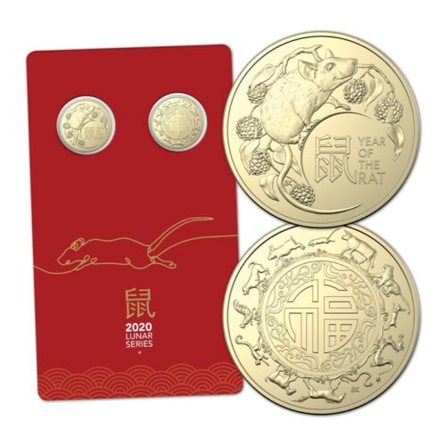 Australia 2020 Lunar Year of The Rat $1 Dollar UNC Two Coin Set Carded RAM