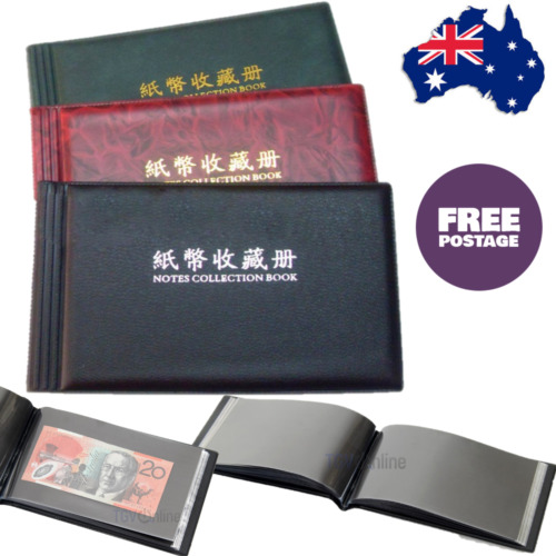 Banknote Currency Collection Album Paper Money Pocket Holders 40 Notes Collector