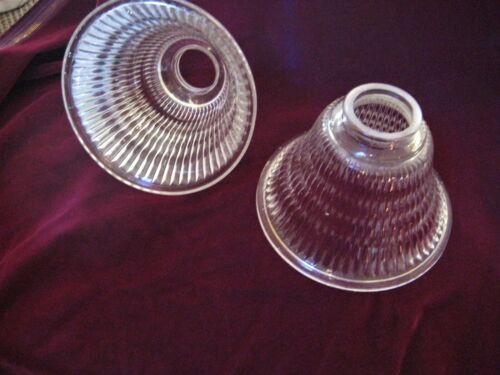 PAIR Ribbed glass shades 2 1/4 fitter,  Gas Chandelier or electric