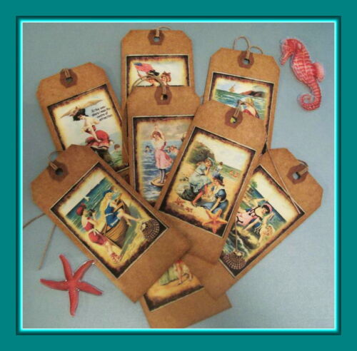 SUMMER BY THE SEA - PRIMITIVE  RETRO DESIGNED HANG TAGS - BEACH - EIGHT TAGS