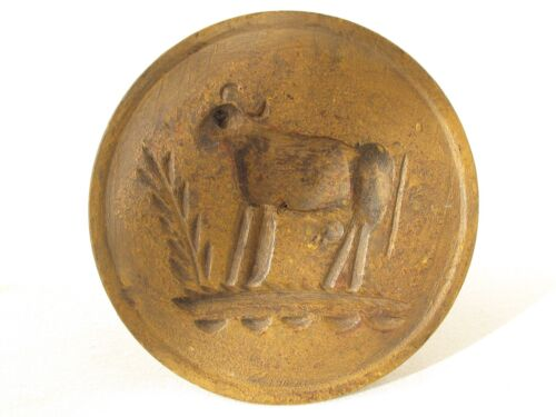 Antique Wood Butter Print Mold Folky Cow