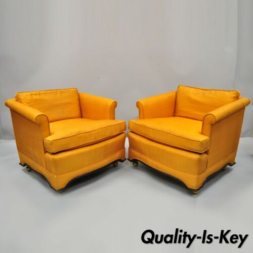 Pair of Mid Century Modern James Mont Dunbar Style Oriental Club Lounge Chairs