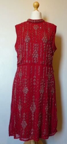 True Decadence High Neck Floral Embellished Shift Dress 18 BNWT* RRP £68.99 Red