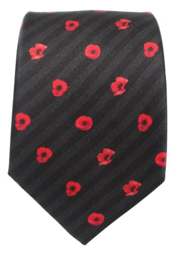 Red Poppy silk tie, Remembrance, Armistice Day,British Army Royal Navy RAF