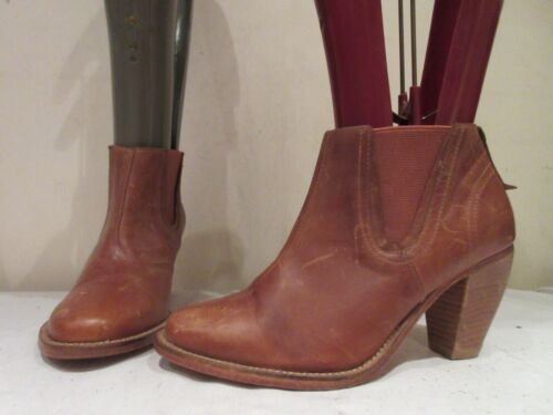 J SHOES TAN LEATHER STACK HEELED PULL ON ANKLE BOOTS UK 4.5  EU 37.5(3383)