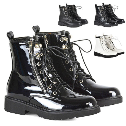 New Womens Biker Ankle Boots Ladies Lace Up Side Zip High Top Shoes Size 2-8