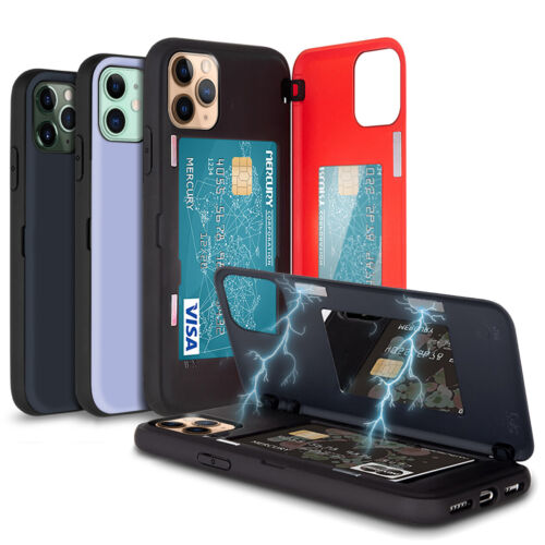 Magnetic Hold Lock Hard Back Card Wallet Case for iPhone 11 Pro Max XR 7 8 Plus