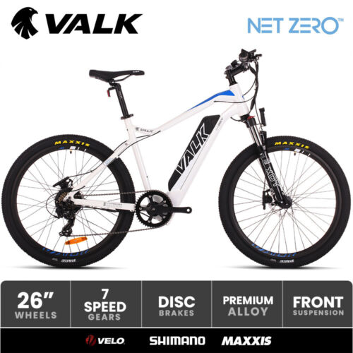 """VALK Electric Bike eBike Motorized Bicycle Battery Mountain eMTB 36V 250W 26 <br/> 26"""" Maxxis Pace Tyres I Velo saddle I Shimano SIS"""