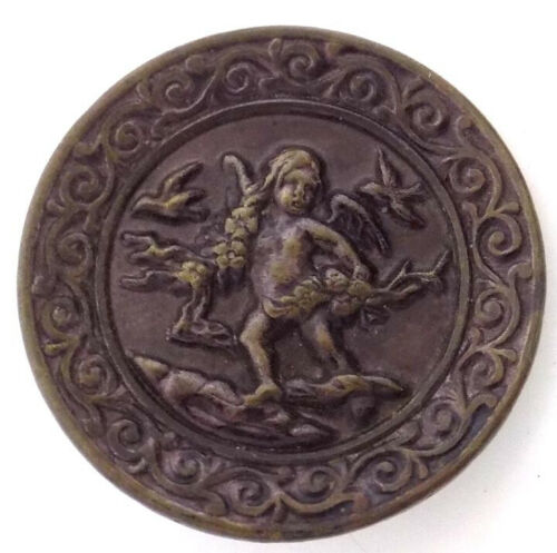 Antique Metal Button Raised Cupid with Flower Garlands, Birds 1 3/8 Inches