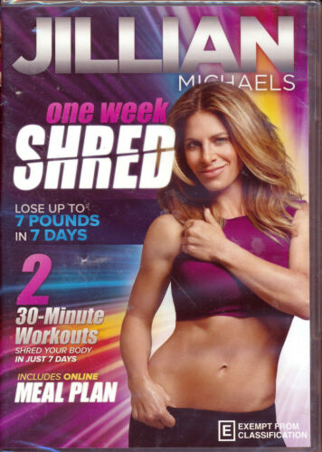 Jillian Michaels One Week Shred DVD NEW 2x 30-minute workouts includes meal plan