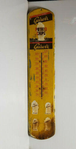 Vintage Thermometer Geiser's Potato Chips RARE Country Store