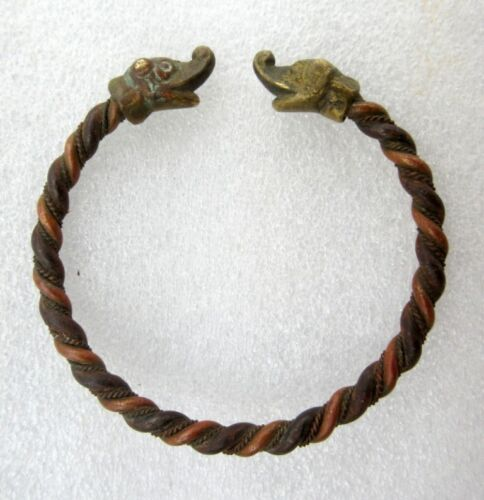 Antique Old Rare Loin Face Tribal Rural Brass Copper Bangle Bracelet Jewelry