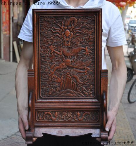 Old Chinese Huanghuali wood Hand carved Dragon Loong statue Screen Byobu
