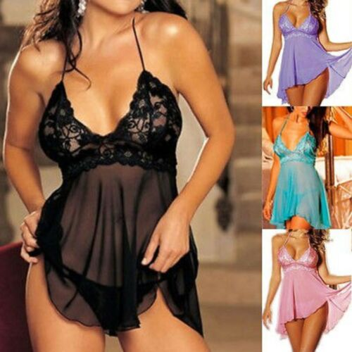 Womens Sexy Babydoll Night Dress Sheer Lingerie Chiffon Swing Lace Floral Plus