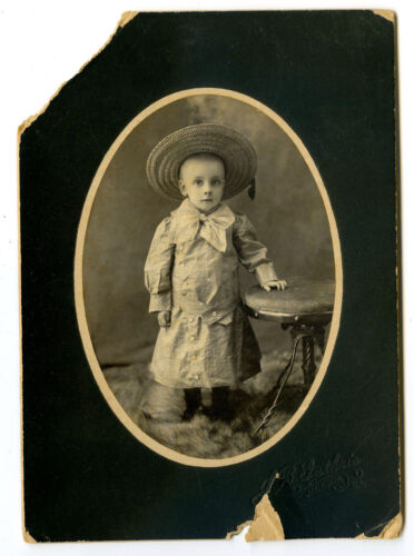 "7"" Antique Cabinet Photo Cute Baby Boy Large Straw Hat Long Dress"