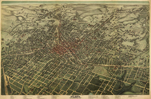 Map of Atlanta - Fulton County Georgia c1892 repro 24x36