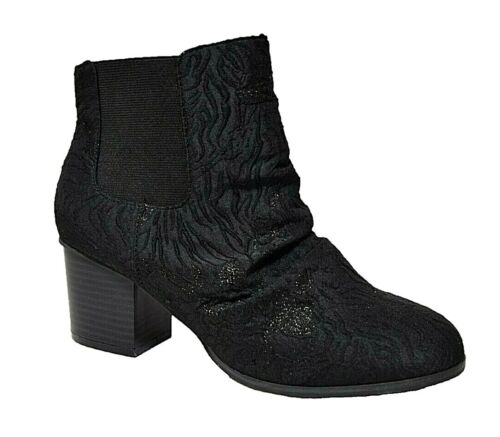 TS TAKING SHAPE sz 41 / 10 Quenby Ankle Boot black jacquard wide fit NIB rrp$180