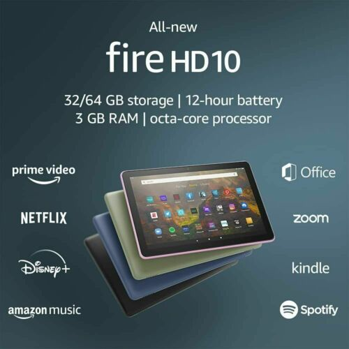 "2019 AMAZON FIRE HD 10 WiFi TABLET 10.1"" 32Gb 1080p 9th Generation hd10 Kindle"