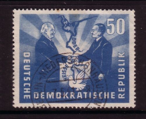 GERMANY -DDR....  1951  50pf polish president visit used with sheet value tab