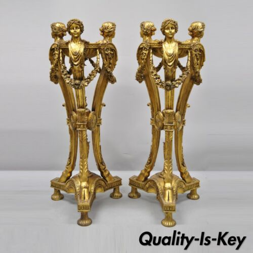 Pair of Gold French Neoclassical Style Figural Maiden Bust Hoof Foot Pedestals