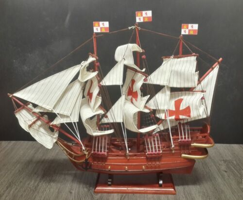 "24"" St Maria Christopher Columbus Wooden Spanish Pirate Wood Vintage Model Ship"