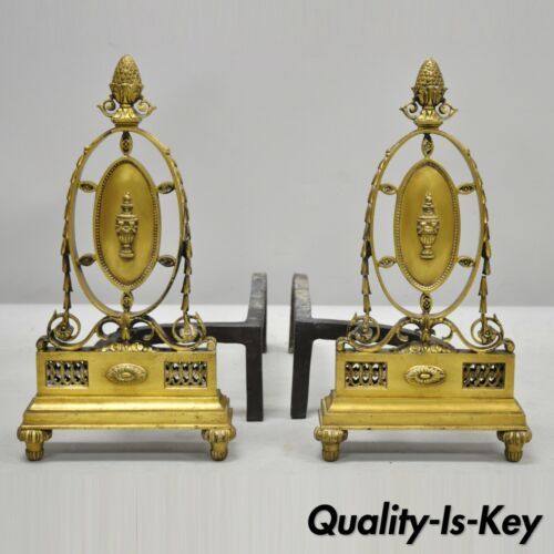 Pair of French Empire Sheraton Style Brass Bronze Urn Acorn Fireplace Andirons