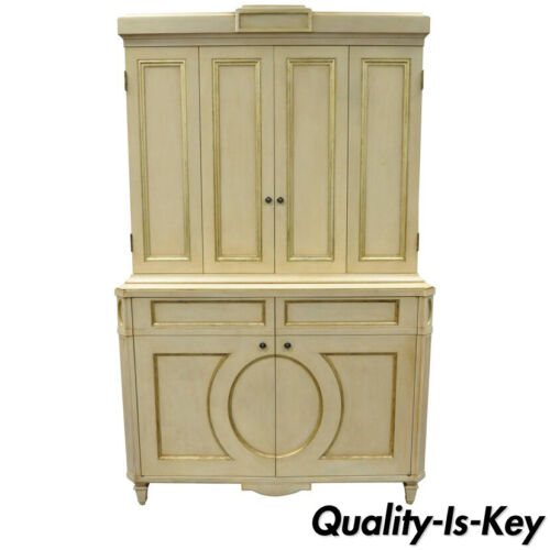 Directoire Neoclassical Style Cream and Gold Distress Painted Cabinet by Decca B