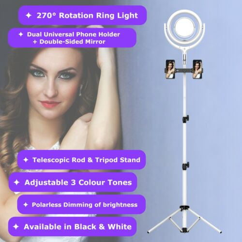NEWAVE 6000K Polarless Dimmable Swivel 12'' LED Ring Light Mirrors 170cm Stand