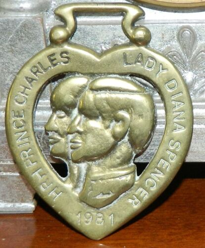 Horse Harness Brass Medallion Bridle Ornament Prince Charles & Lady Diana 1981