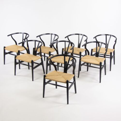 Set of Eight Vintage Hans Wegner Carl Hansen Denmark Wishbone Dining Chair Black
