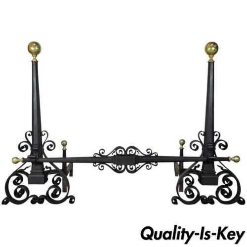 Antique Wrought Iron & Brass Arts & Crafts Mission Samuel Yellin Style Andirons