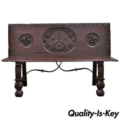 17th Century English Renaissance Carved Oak and Wrought Iron Bench Banquette