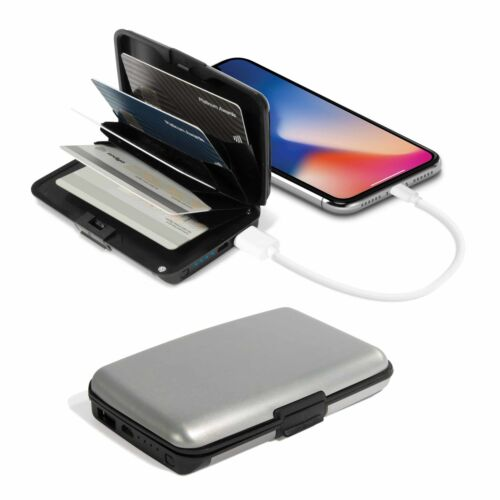 CARDSAFE CARD CASE & POWER BANK Hard Aluminium Anti Theft RFID Scan Wallet **NEW
