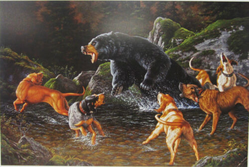 Troubled  Waters By Tom Mansanarez Bear Dogs Hunting Print 27x18
