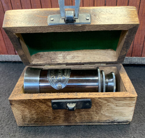 BRASS TELESCOPE WITH Box Made For Royal Navy Replica Ships From Melbourne