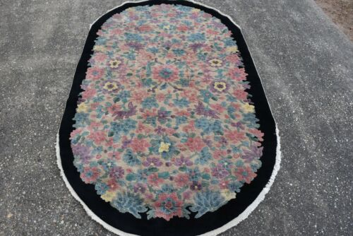 """VINTAGE OVAL CHINESE RUG 4'x6'9""""  #469"""