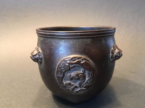 """Antique Chinese Bronze Censer, 16th-17th C, Ming period. """"Fei Yun Ge"""" mark"""