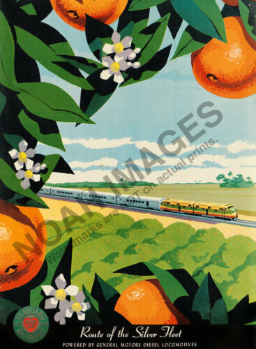 Route of Silver Fleet vintage Railroad train travel poster 12x16