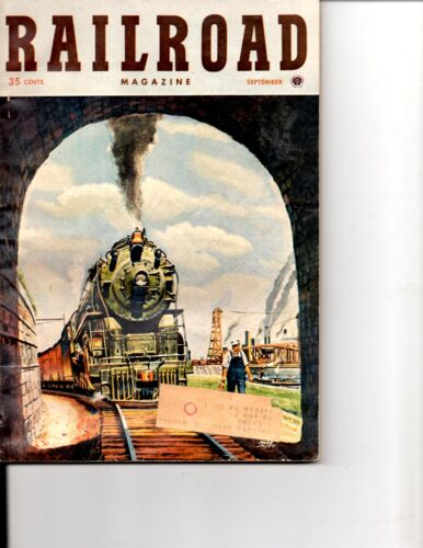 """SEPTEMBER 1950 RAILROAD MAGAZINE-""""IN FROM THE MEADOWS"""" -HERB MOTT COVER-VINTAGE"""