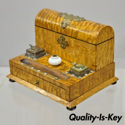 19th Century English Burl Wood & Rosewood Parkins & Gotto Inkwell Desk Letterbox
