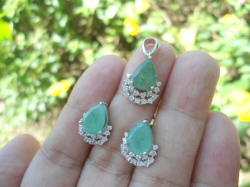 NATURAL EMERALD & White CZ Stones STERLING 925 SILVER EARRINGS & PENDANT SET