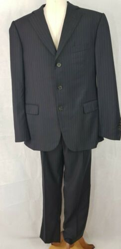 Lanvin Navy Blue Single Breasted 3 Button Pinstripe Suit, Size IT 50, US 40/34