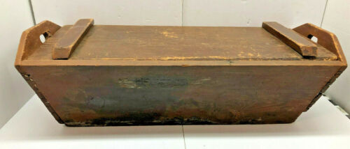 """Big 34"""" Antique Pine Dovetailed Dough Box with Original Kneading Lid Brown Paint"""